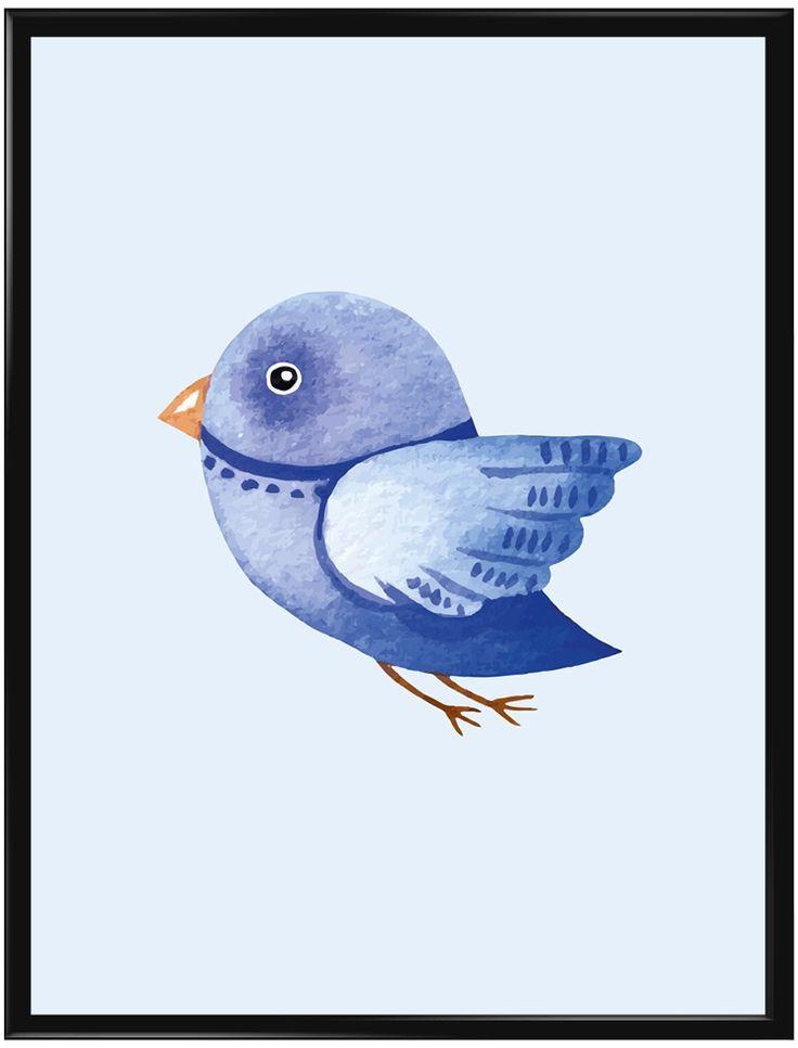 En blå liten fågel på ljusblå bakgrund. Denna fågel älskar barnen och är allt…