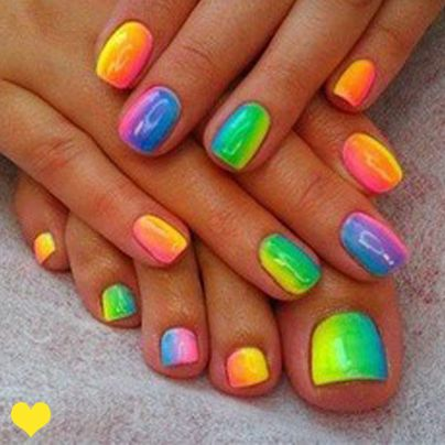 Rainbow Nails! :)  First paint your nails white then get a sponge and polish on two colours overlapping them so it makes three colours then sponge onto your finger. You will need to apply two or three coats and then put clear polish on.