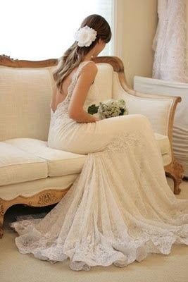 Beautiful backless lace wedding dress. wedding-dresses. My dream dress