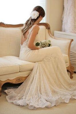 Beautiful backless lace wedding dress. wedding-dresses. My dream dress