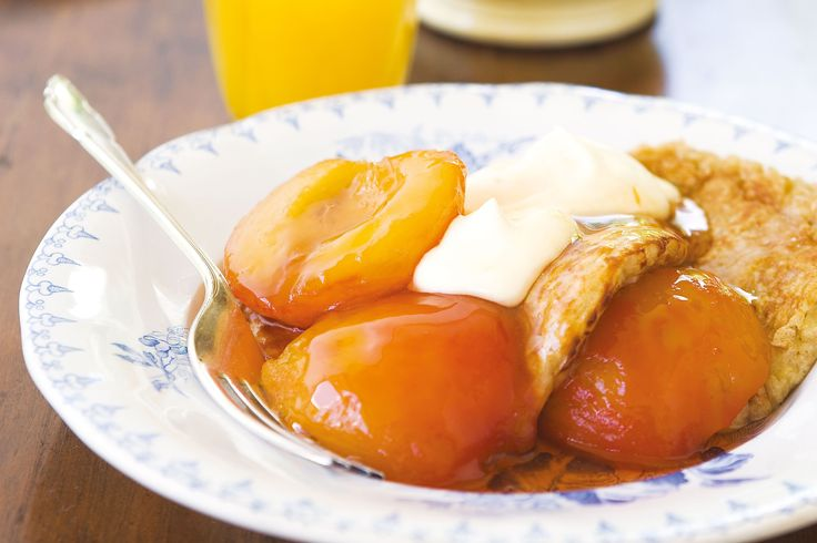 What better way to start off your day than with poached peaches and oat-buttermilk pancakes - perfect for long summer days.