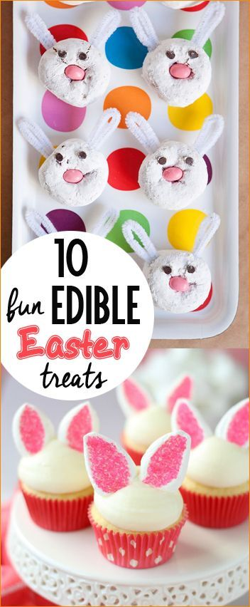 10 Edible Easter Treats.  Bunny themed cupcakes, doughnuts and baskets.  Darling food for your Easter dessert table.  Easter party desserts.