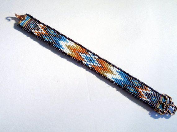 Loom Beaded Native American Pattern Bracelet by GlassTortoise, $16.00