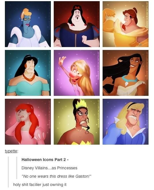 Disney villains as princesses meme tumblr