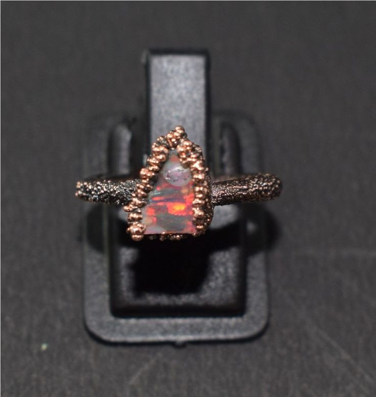 Natural 1 Pc AAA Raw Opal Opel Hire Fire Gemstone Electroformed Ring US Size-4.5 #Leejewelcreations #Band