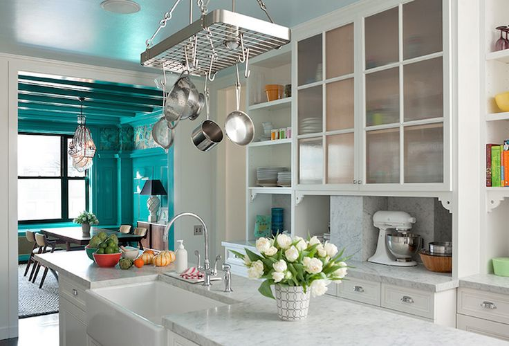 Pot Rack Over Island, Transitional, Kitchen, Anik Pearson Architect