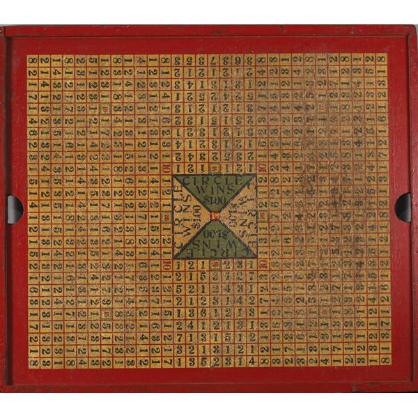 "Vintage tavern gambling game board c. 1920-30; 'Circle Wins $100'. Paint on board. 48"" x 42"""
