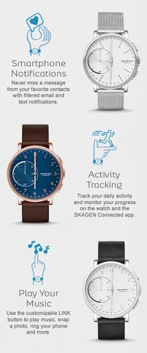 The Hagen Connected hybrid smartwatch combines technology with classic design. Features include automatic time and date adjustment, activity and goal tracking, sleep tracking, filtered email and text notifications, dual-time function, alarm and SKAGEN LINK technology, which allows the wearer to snap a photo, control their music and more—all with the push of a button. Hagen Connected is compatible with Android™ phones and iPhone®.