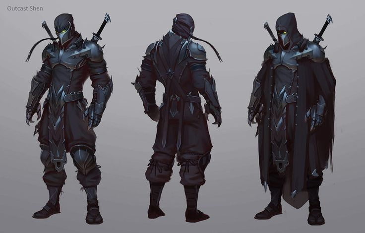 First Concept by Afrocream armor front back robe cloak assassin ninja ranger fighter thief rogue clothes clothing fashion equipment gear magic item | Create your own roleplaying game material w/ RPG Bard: www.rpgbard.com | Writing inspiration for Dungeons and Dragons DND D&D Pathfinder PFRPG Warhammer 40k Star Wars Shadowrun Call of Cthulhu Lord of the Rings LoTR + d20 fantasy science fiction scifi horror design | Not Trusty Sword art: click artwork for source