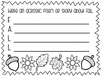 8 fun Fall writing prompts. Makes for a fun writing center. Give students the choice of which prompt to answer or use one each morning. Allow students to color and make a class book or a seasonal bulletin board!