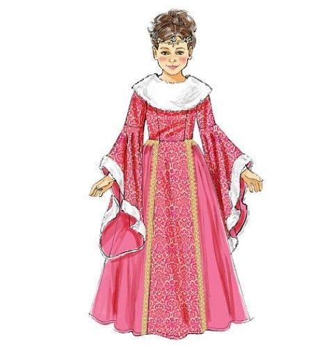 PATTERN McCALLS Girls Princess Dress Queen Gown 3 t 8 Modest Costume Sewing 6376
