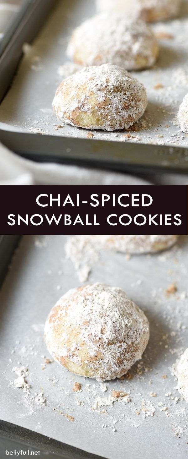 These tender snowball cookies are made with butter, all-purpose flour, almond flour, and powdered sugar, then tossed in a chai-spiced mixture. They are a fantastic holiday cookie or great served with coffee!