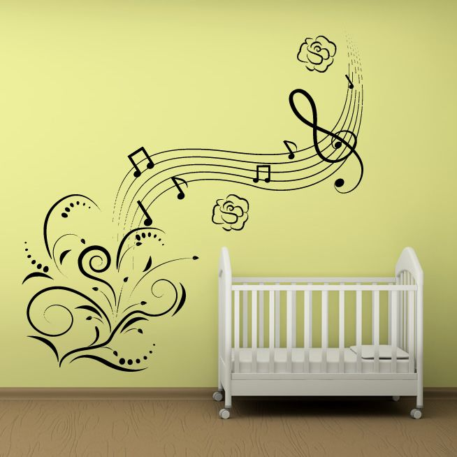 Music Notes Flowers Wall Art Decals Wall Stickers Transfers Part 80