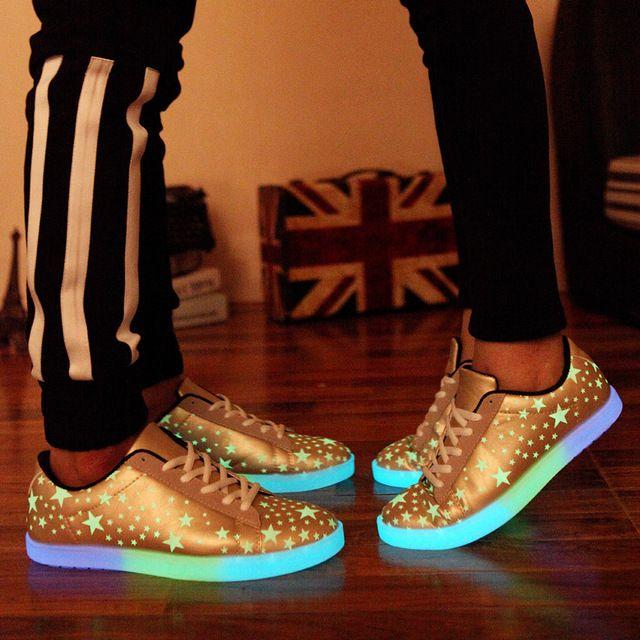 Luz para arriba los zapatos para adultos hombres Casual otoño transpirable Outerdoor para hombre que brilla intensamente de los zapatos clásicos de zapatos Led