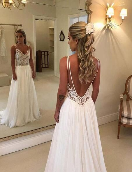 2019 Country Chiffon Beach Wedding Dresses Plus Size Sexy Backless A ... e30631a76