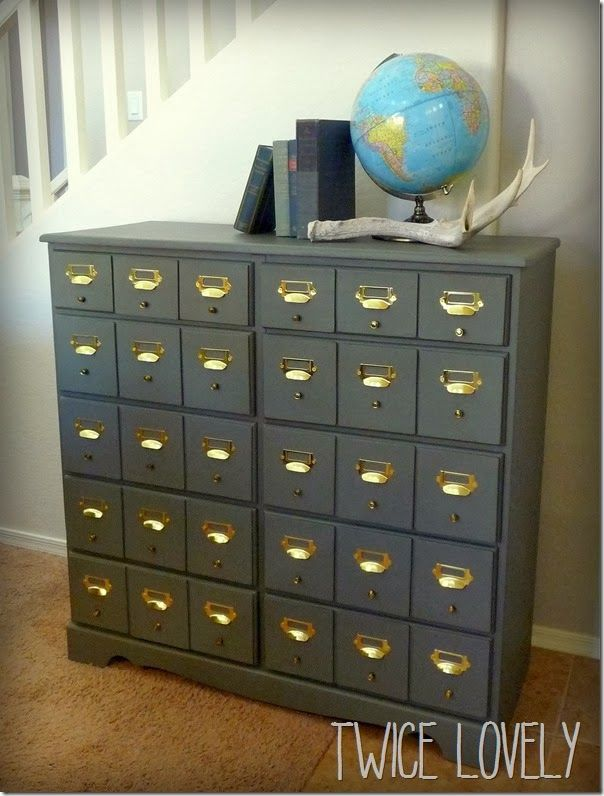 how to make a realistic faux card catalog from an old dresser from Twice Lovely