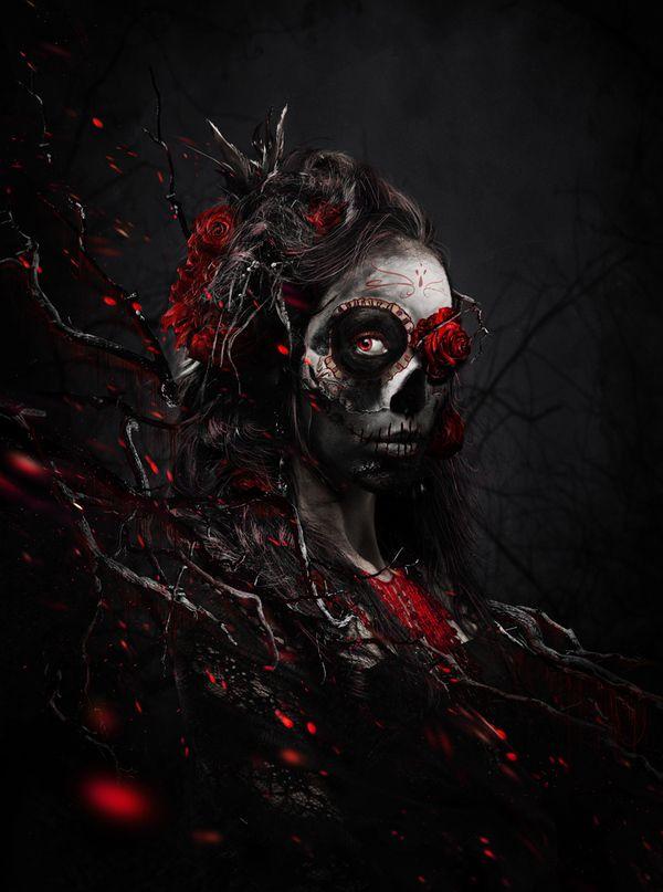 Edmar CisnerosDigital Art, Sugar Skull, Of The, Dark Side, Wicked Rose, Skullsdark Artgoth, Dead, Day, La Martiniana