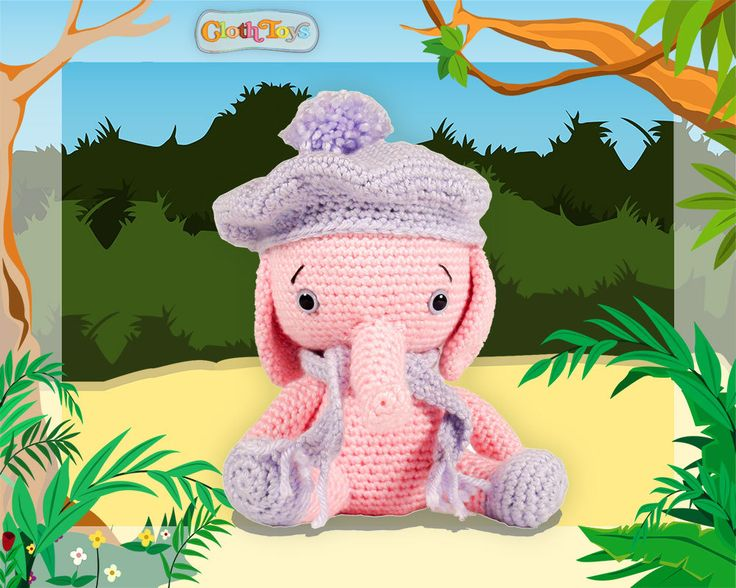 Crocheted ELEPHANT, Ready to Post, Pink Elephant, Amigurumi , Soft Toy, Nursery Jungle Decor, Crochet Toy, Removable Hat & Scarf, Australia by ClothToyCreations on Etsy