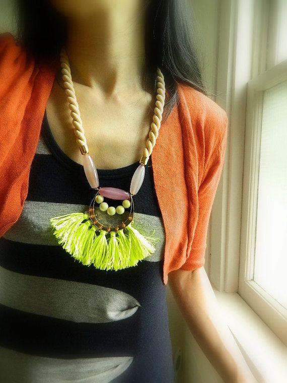 Fringe Necklace Boho necklace Bright Neon Tassel Long Necklace Rope Necklace Yellow Stone Necklace Statement Necklace Bib Big Necklace
