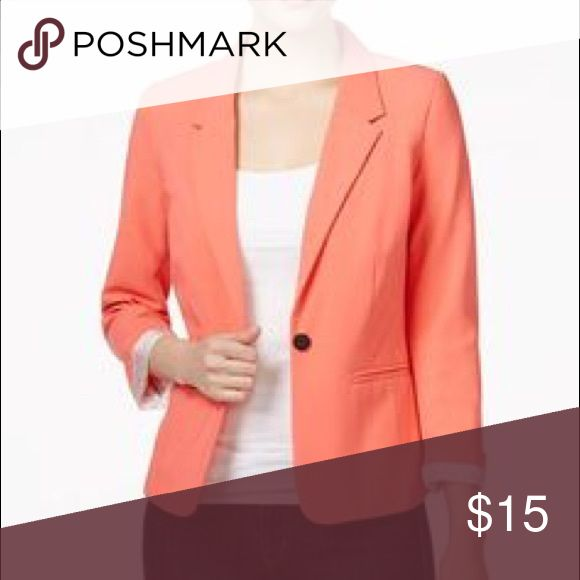 Kensie ¾ sleeve peach blazer Lovely peach colored blazer with ¾ length sleeves lined with black and white polka dot fabric. Worn a handful of times - no stains, tears, or other issues! Kensie Jackets & Coats Blazers