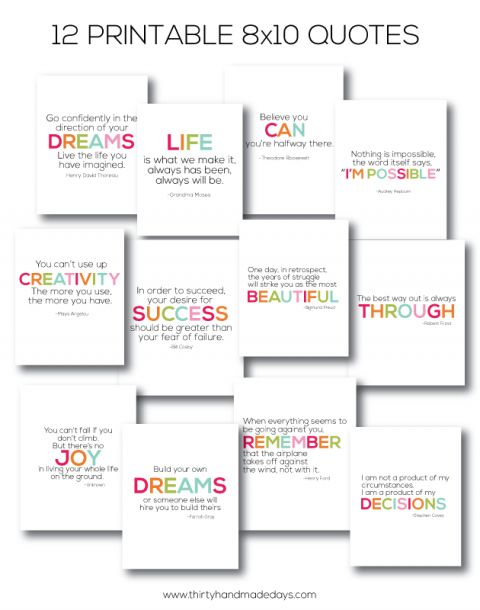 gift idea | 12 of my favorite quotes- 8x10 printables www.thirtyhandmadedays.com: