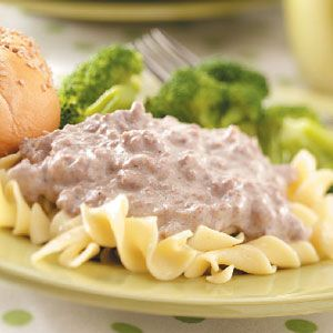 Stroganoff for a Crowd - Now this recipe really does feed a crowd (about 70 one cup servings).  Along with the onions consider sautéing three or four cups of fresh mushrooms before adding the beef.  Serve over hot cooked noodles or better yet; rice.