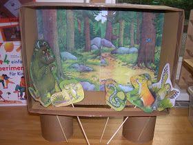 Dieses kleine Tischtheater war natürlich bei allen Kindern sehr beliebt:     Dafür habe ich das Bilderbuch eingescannt und   den Hintergun...