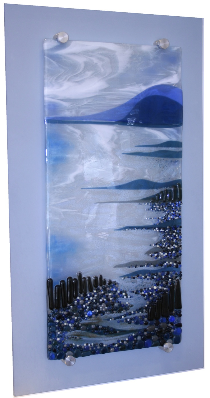 Image detail for -Coast - Fused Glass Panel on Board by Nicky Exell