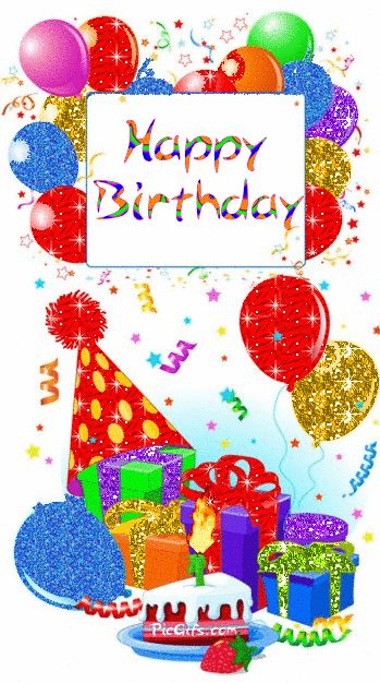 Happy Birthday Glitter Clip Art | Happy birthday comment gifs