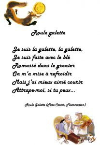 "printable song lyrics for ""Je suis la galette"" with illustrations from the Père Castor Roule galette book"