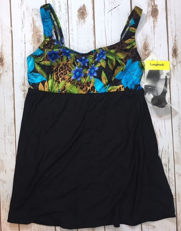 NWT Longitude Womens Size 12 One-Piece Skirted Swimsuit Black Floral Leopard NEW 74533208493 | eBay