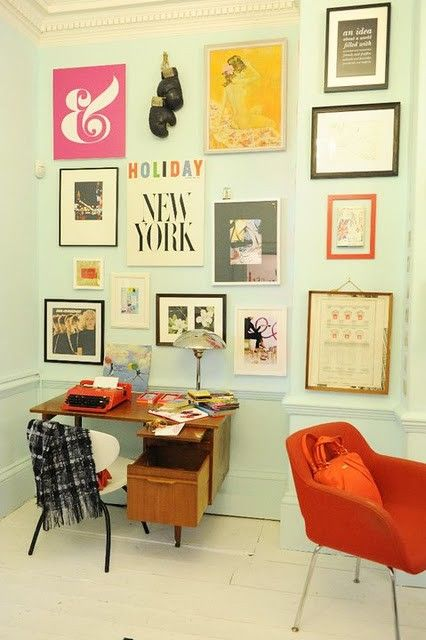 mid-century modern gallery wall.: Wall Art, Interior, Idea, Wall Color, Home Office, Gallery Wall, Kate Spade, Room