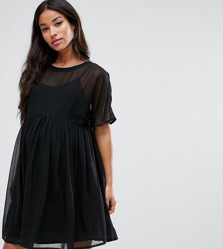 ASOS Maternity Woven Smock Dress - Black