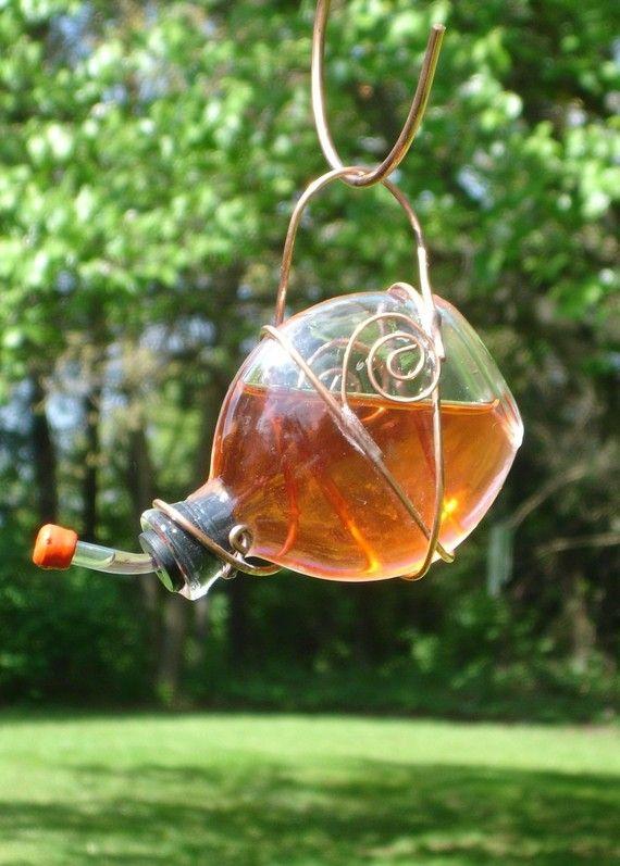 Round Flat Stained Glass Hummingbird Feeder. $15.50, via Etsy.