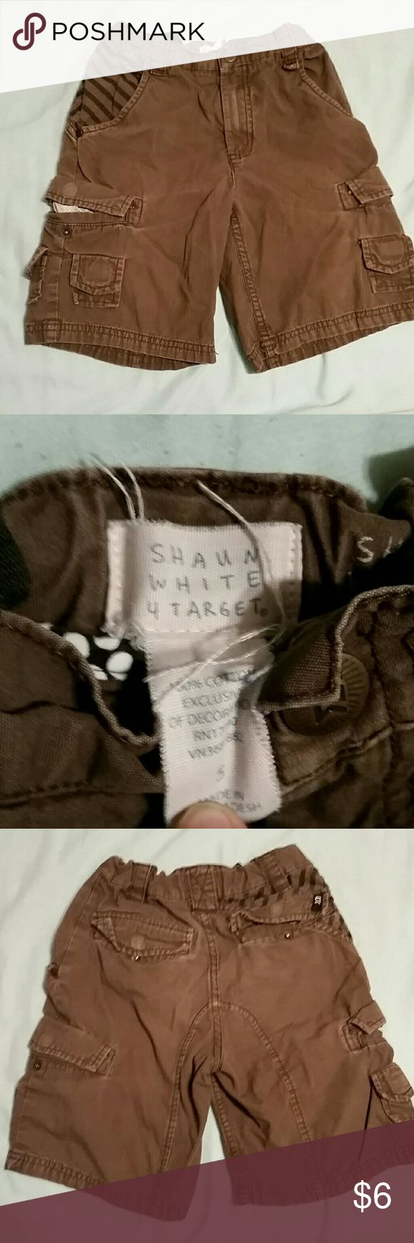 Shaun White little boys cargo shorts EUC brown cargo shorts no holes or stains some fading from wear around back pockets but still in amazing condition :) Shawn White 4 Target Bottoms Shorts