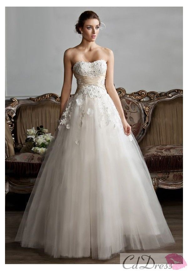Ball-Gown Sweetheart Floor-Length Satin Tulle Wedding Dress With Ruffle Sashes Beadwork Appliques Flower(s)