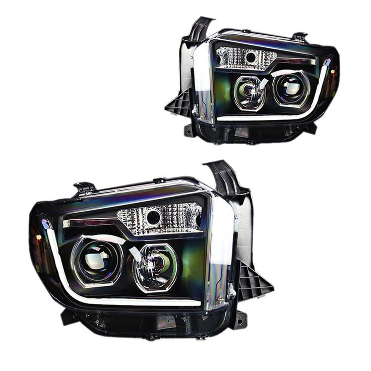 Projector Headlight Black With LED Daytime Running Lights Pair With Halogen Headlights Toyota Tundra 2014-2016
