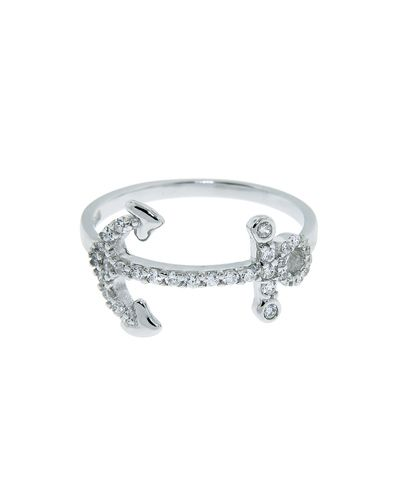 Sterling Silver Pave Anchor Ring