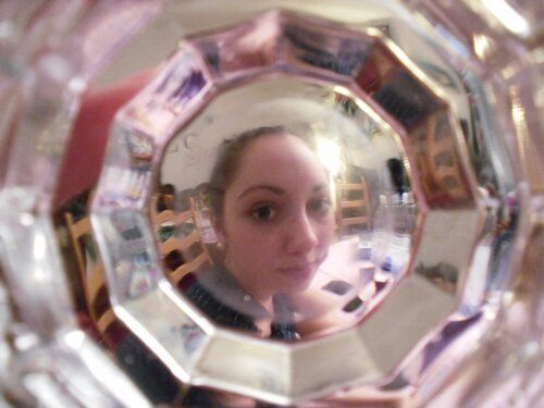 Through the bottom of the glas