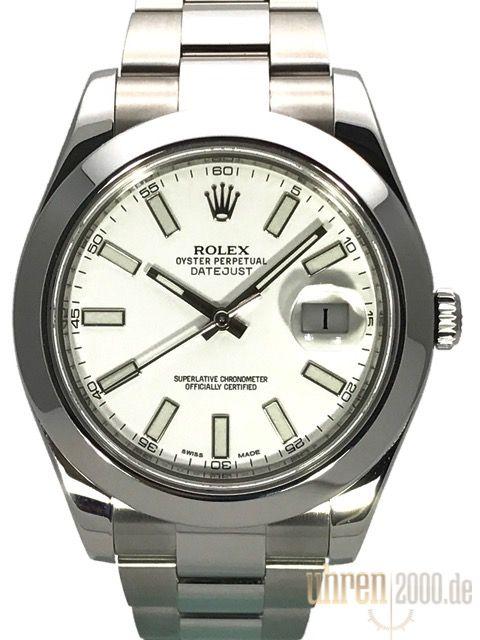 Rolex Datejust II 41 Edelstahl 116300 Weiß gebraucht aus 2015