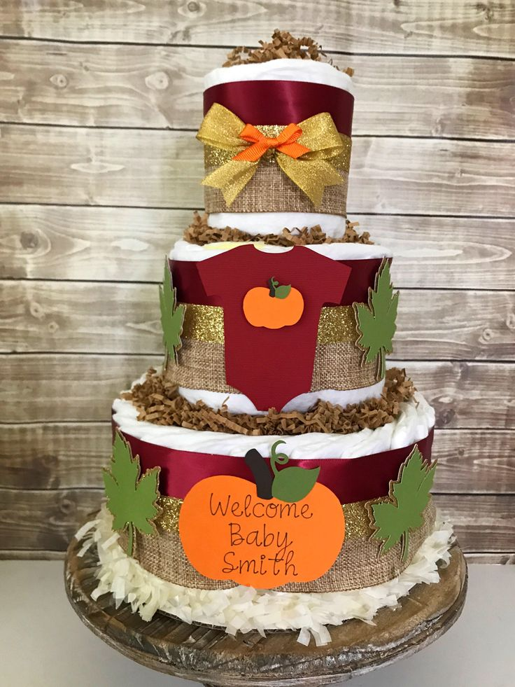 Attractive Fall Themed Baby Shower Cakes Part - 5: Fall Diaper Cake In Burgandy, Burlap And Forest Green, Fall Baby Shower  Centerpiece By