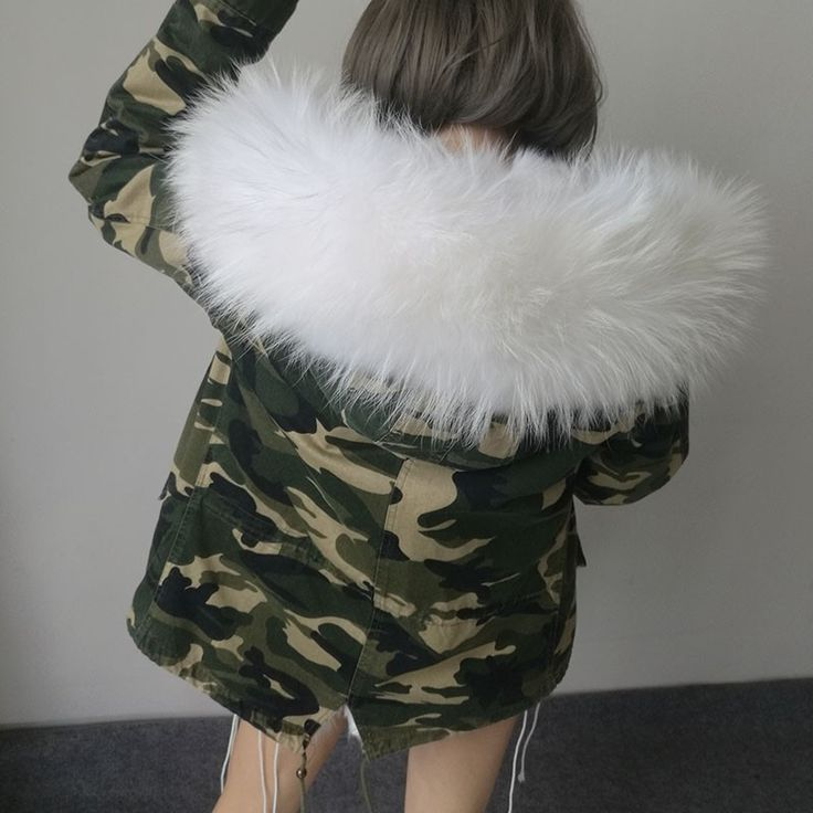 Women's Camo Parkas With Real Fur Collars (5 Color Ways)