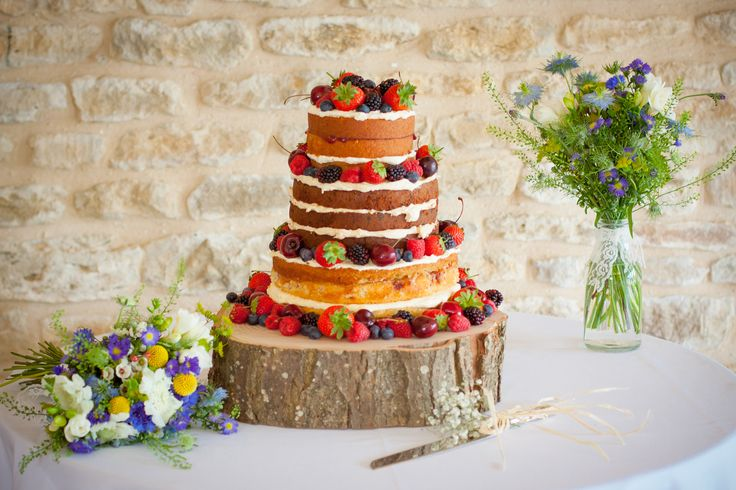 Spectacular summer fruit sponge - wedding Winkworth Farm Malmesbury Wiltshire - brides bouquet and table flowers