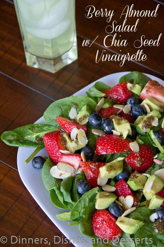 Berry Almond Salad with Chia Seed Vinaigrette