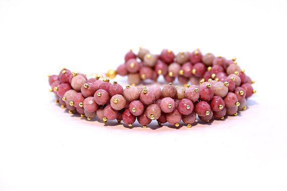 Rhodochrosite Bracelet Beaded Bracelet Pink by Femalehappiness