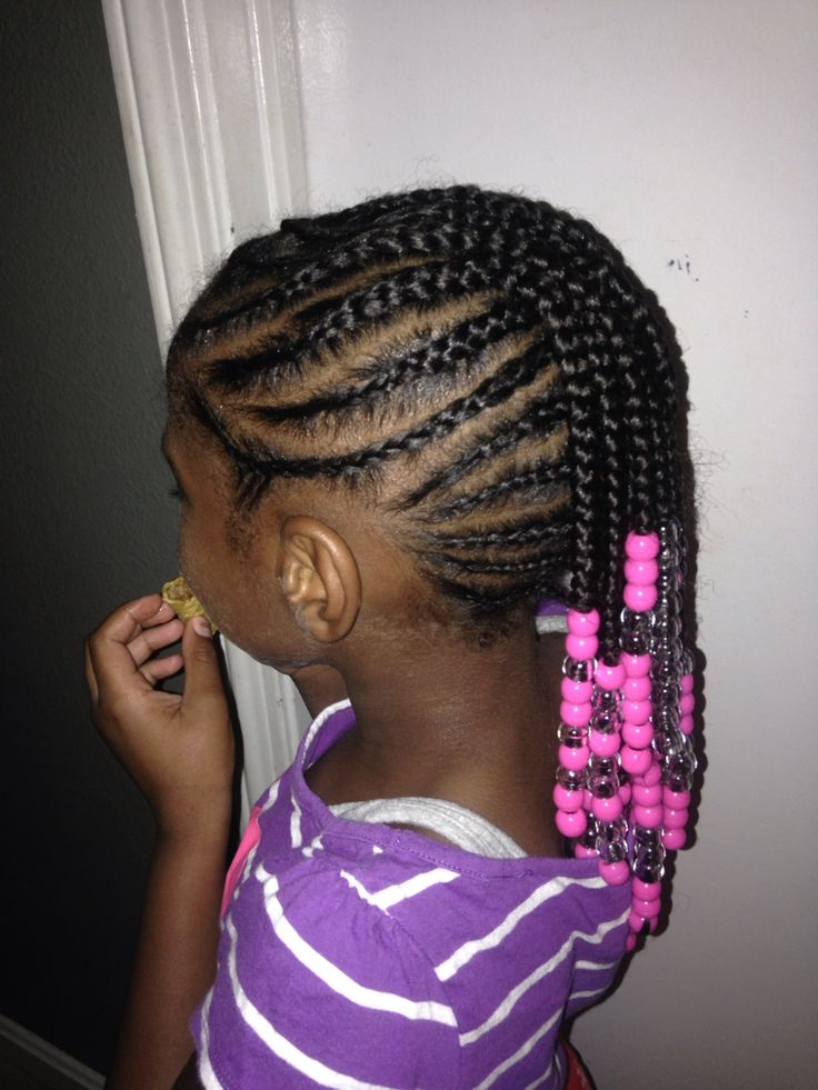 Braided Mohawk Side View Natural Hair Beads Cornrow