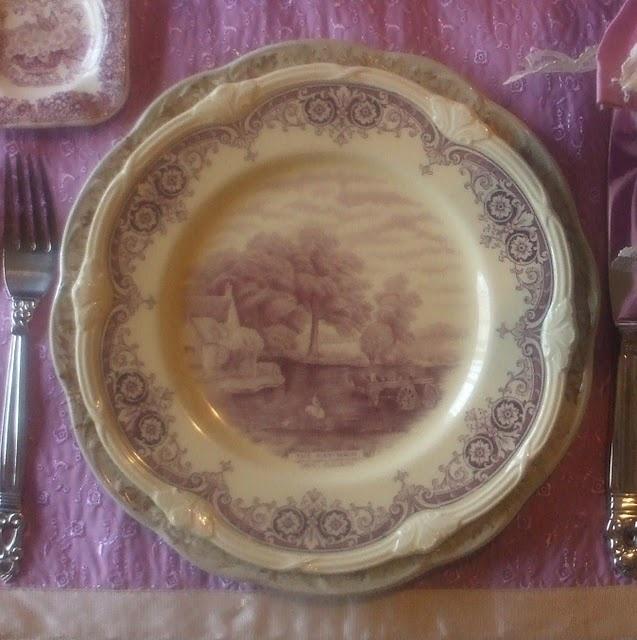 lavender purple toile transferware - photo #34