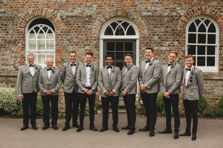 Groomsmen suits. Jacket and trousers. Bow tie. Grey suits. Happily ever Lawther weddings