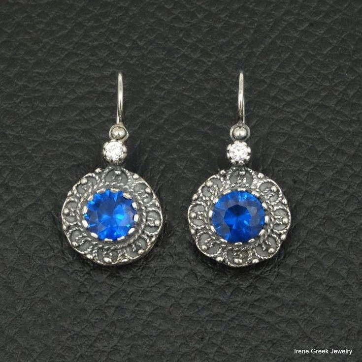 RARE BLUE SAPPHIRE CZ ETRUSCAN STYLE 925 STERLING SILVER GREEK HANDMADE EARRINGS #IreneGreekJewelry #DropDangle