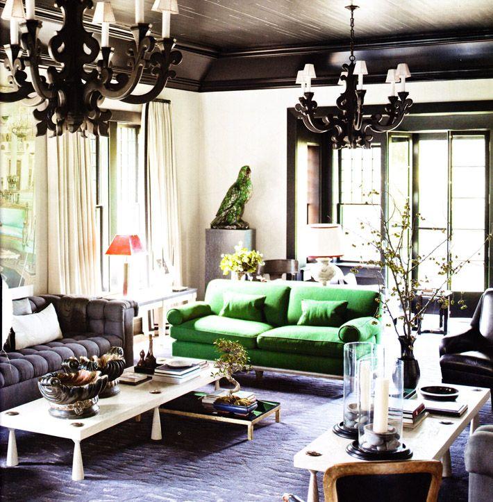 Elle Decor Black Ceiling Black Ornate Pendents Green Sofa